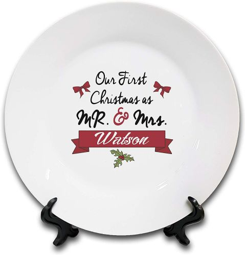Personalised 'Our First Christmas As Mr & Mrs' Novelty Gift Ceramic Plate & Stand